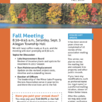 Notice: Fall Meeting September 3, 2017